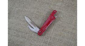 Нож складной двухпредметный длиной 80 мм/Оригинал СССР в красном цвете [хо-145]