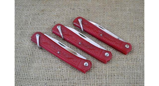 Нож складной трехпредметный длиной 120 мм/Оригинал СССР в красном цвете [хо-150]