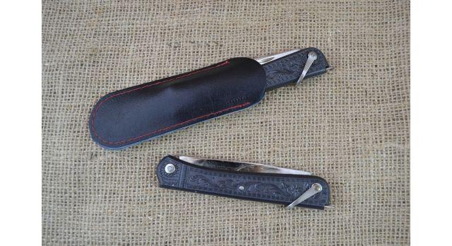 Нож складной трехпредметный длиной 120 мм/Оригинал СССР в черном цвете [хо-149]
