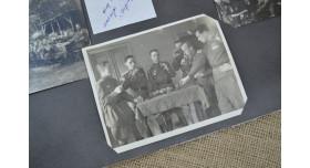 Фотографии застолья советских офицеров в честь победы, 1945 г./Оригинал 1945 г., комплект из 3 шт. в раме 25х52 см [фт-39]
