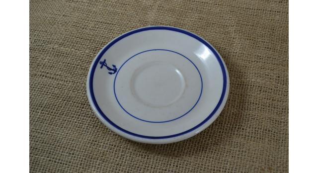 "Блюдце ""Морское"" Sterling, 1939 г./Оригинал, фаянс, 1939 г., диаметр 15 см. [фр-99]"