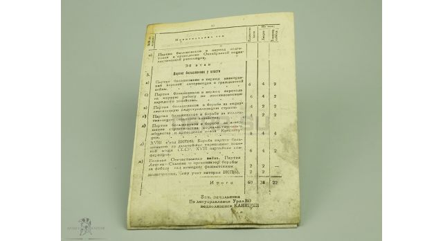 Табель «По марксистско-ленинской подготовке с офицерским составом»
