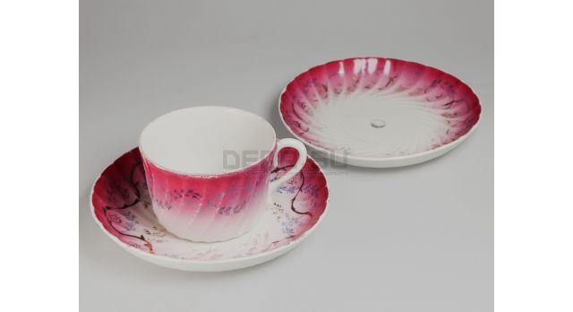 """Фарфоровый чайный сервиз / 1 чашка, 2 блюдца от """"Кузнецов"""" [ф-94]"""