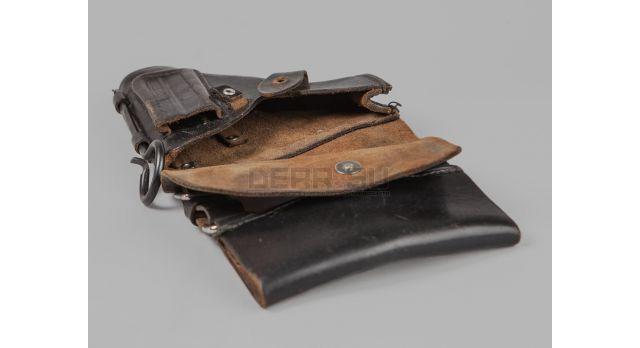 Кобура для пистолета ПМ / Чёрная кожа морской вариант с ранней протиркой [сн-236]