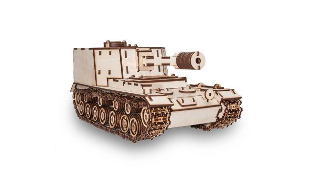 Конструктор деревянный 3D  Танк САУ-212/Комплект для сборки [КД-2004]