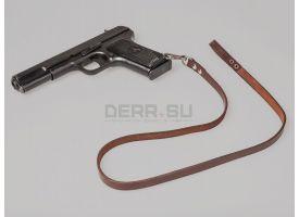Страховочный ремешок для револьвера Наган и пистолета ТТ / Оригинал кожа поздний клёпанный [тт-15]