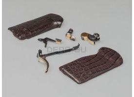 Золочёный комплект для АПС с накладками из крокодиловой кожи